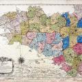 Carte de la Bretagne en 5 départements (carte géographique Ogée, archives nationales)