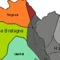 Evolution du glissement vers l'Ouest de la frontière linguistique entre le IXe siècle et le XXe.