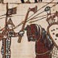 L'armée anglaise encaisse la charge de la cavalerie normande (tapisserie de Bayeux)
